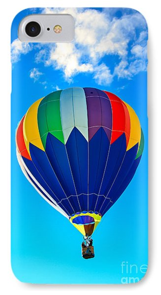 Blue Striped Hot Air Balloon IPhone Case by Robert Bales