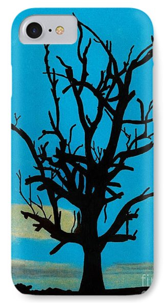 IPhone Case featuring the drawing Blue Sunset by D Hackett