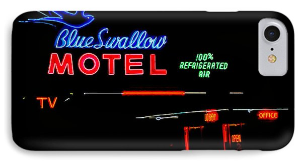 Blue Swallow Motel Neon Sign Phone Case by Catherine Sherman