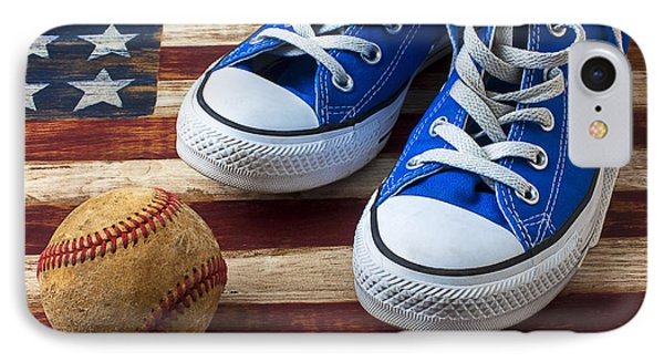 Blue Tennis Shoes And Baseball IPhone Case by Garry Gay
