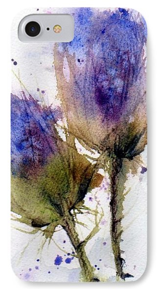 Blue Thistle IPhone Case by Anne Duke