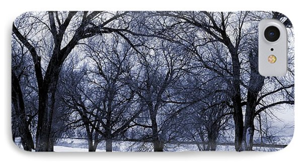 IPhone Case featuring the digital art Blue Tone Trees by Aliceann Carlton