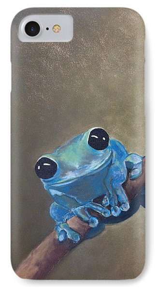 Blue Tree Frog On A Branch IPhone Case