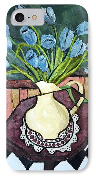 Blue Tulips On Octagon Table Phone Case by Anthony Falbo