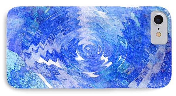 Blue Twirl Abstract Phone Case by Ann Powell