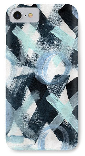 Blue Valentine- Abstract Painting IPhone Case by Linda Woods