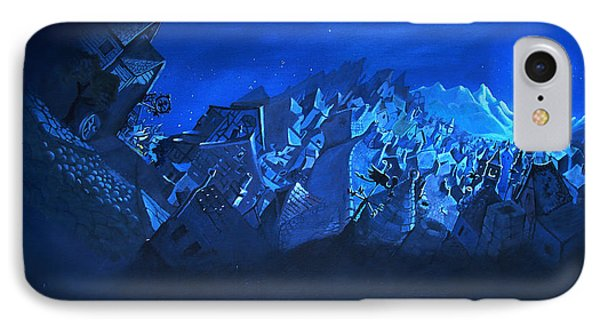 IPhone Case featuring the painting Blue Village by Joseph Hawkins