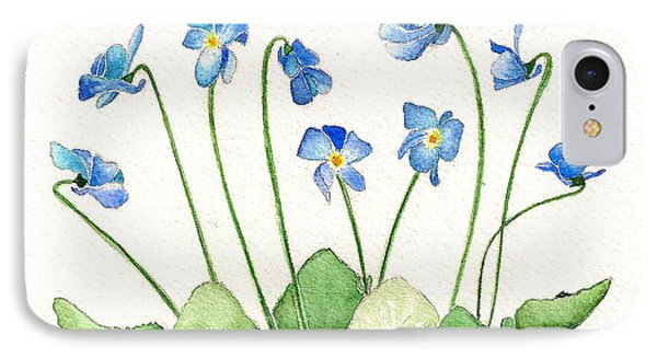 Blue Violets IPhone Case by Nan Wright