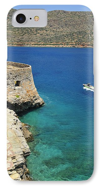 Blue Water And Boat - Spinalonga Island Crete Greece IPhone Case by Matthias Hauser