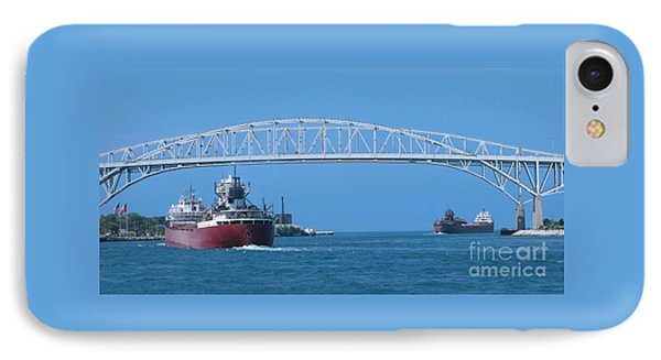 Blue Water Bridge And Freighters IPhone Case by Ann Horn