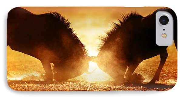 Blue Wildebeest Dual In Dust IPhone Case by Johan Swanepoel