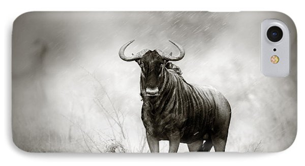 Blue Wildebeest In Rainstorm IPhone Case by Johan Swanepoel