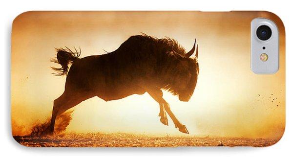 Blue Wildebeest Running In Dust Phone Case by Johan Swanepoel