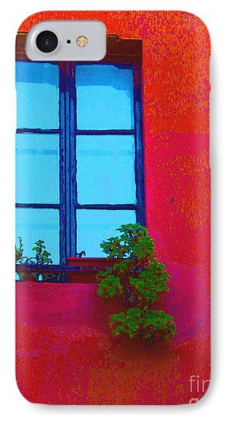 IPhone Case featuring the photograph Blue Window With Flowers by Ann Johndro-Collins