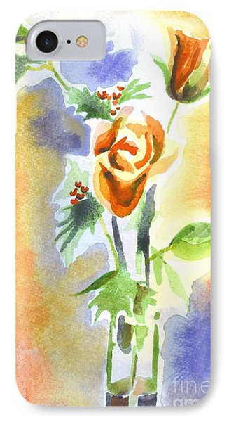 IPhone Case featuring the painting Blue With Redy Roses And Holly by Kip DeVore