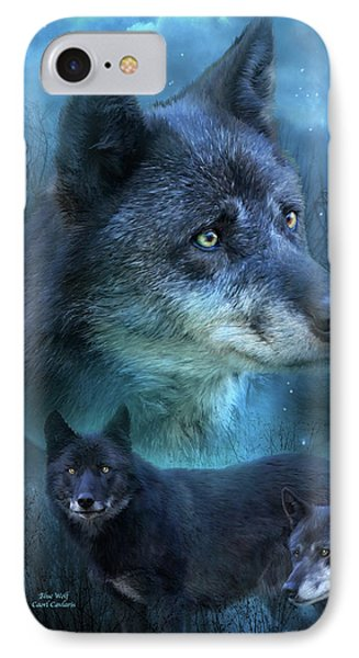 Blue Wolf Phone Case by Carol Cavalaris