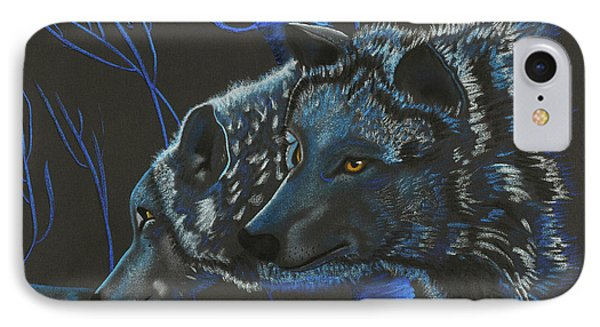 Blue Wolves IPhone Case by Mayhem Mediums