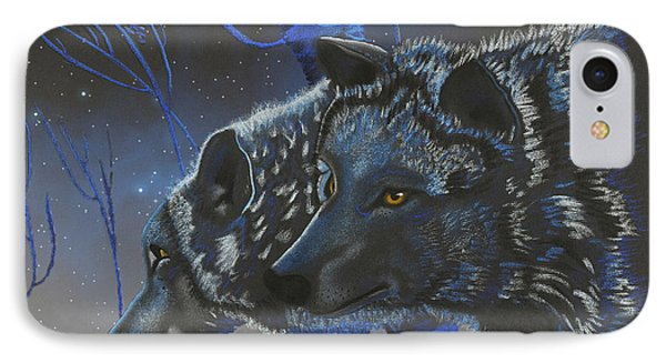 Blue Wolves With Stars IPhone Case by Mayhem Mediums