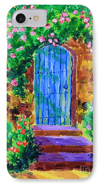 Blue Wooden Door To Secret Rose Garden IPhone Case by Beverly Claire Kaiya