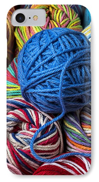 Blue Yarn IPhone Case by Garry Gay