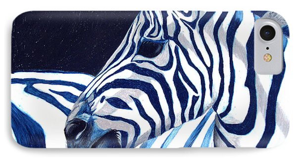IPhone Case featuring the painting Blue Zebra by Alison Caltrider