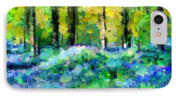 Bluebells In The Forest - Abstract IPhone Case