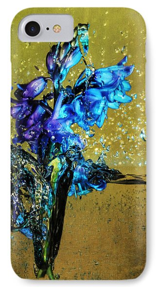 IPhone Case featuring the mixed media Bluebells In Water Splash by Peter v Quenter