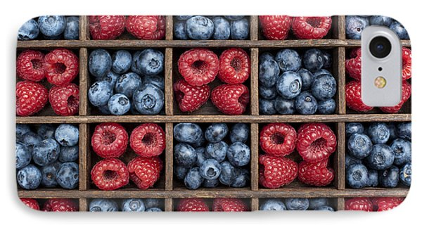 Raspberry iPhone 7 Case - Blueberries And Raspberries  by Tim Gainey