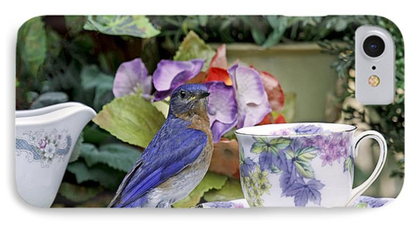 Bluebird And Tea Cups IPhone Case by Luana K Perez