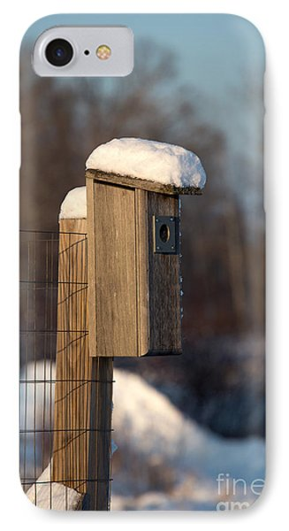 Bluebird House Covered With Snow Phone Case by Linda Freshwaters Arndt