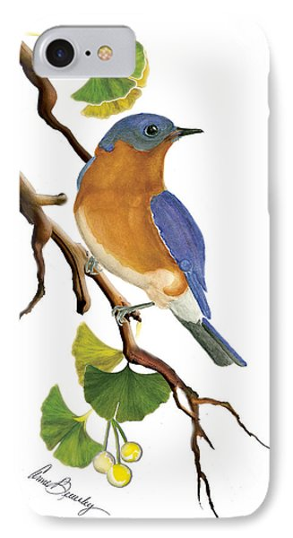 Bluebird In Ginkgo Tree IPhone Case by Anne Beverley-Stamps
