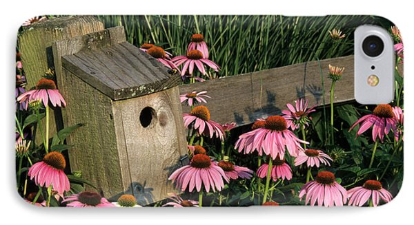 Bluebird Nest Box On Fence Near Purple IPhone Case by Richard and Susan Day