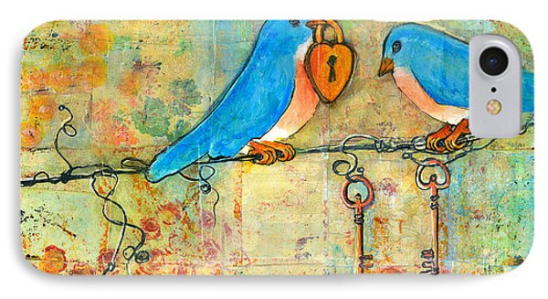 Bluebird Painting - Art Key To My Heart IPhone Case by Blenda Studio