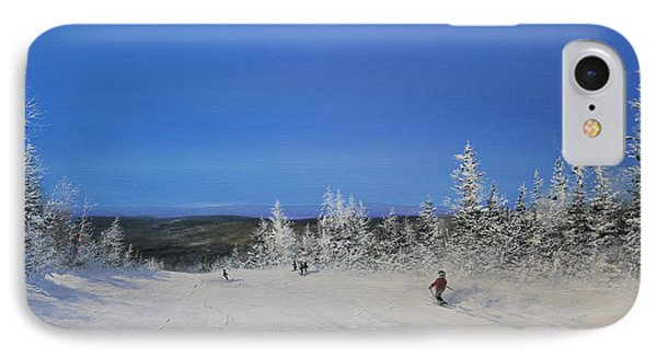 IPhone Case featuring the painting Bluebird Ski Day by Ken Ahlering