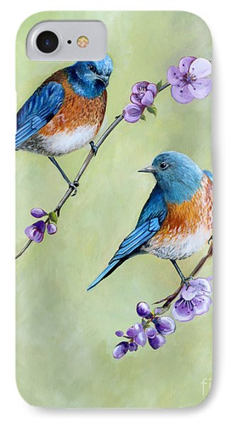 Bluebirds And Blossoms IPhone Case