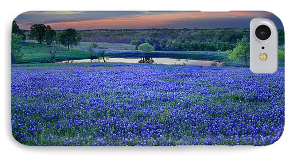 Bluebonnet Lake Vista Texas Sunset - Wildflowers Landscape Flowers Pond IPhone Case by Jon Holiday