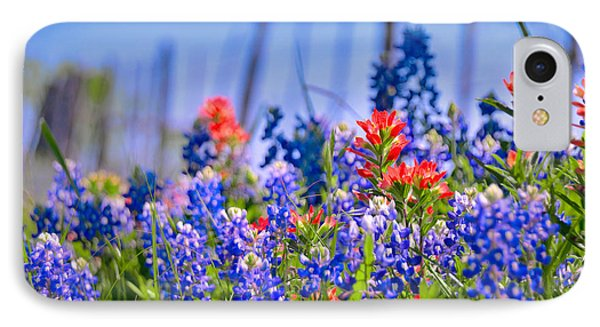 IPhone Case featuring the photograph Bluebonnet Paintbrush Texas  - Wildflowers Landscape Flowers Fence  by Jon Holiday