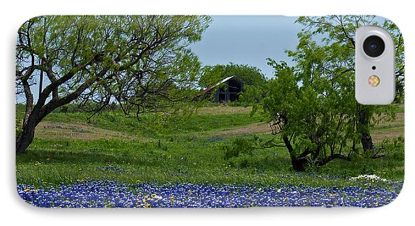 Bluebonnets And Old Barn Phone Case by Lisa Holmgreen