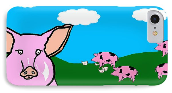 Bluesky Farm Pigs IPhone Case by Rachel Lowry