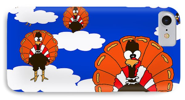 Bluesky Turkeys IPhone Case by Rachel Lowry