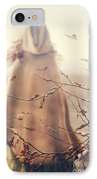 Blurred Image Of A Woman With Cape IPhone Case by Sandra Cunningham