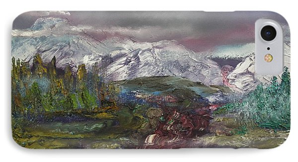 IPhone Case featuring the painting Blurred Mountain by Jan Dappen