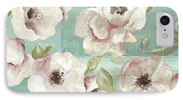 Blush Flowers On Teal IPhone Case by Patricia Pinto