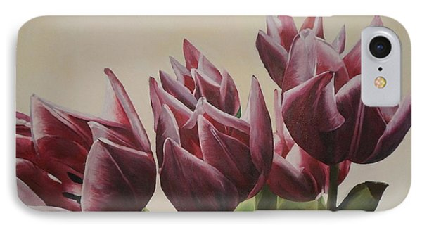 IPhone Case featuring the painting Blushing Tulips by Cherise Foster