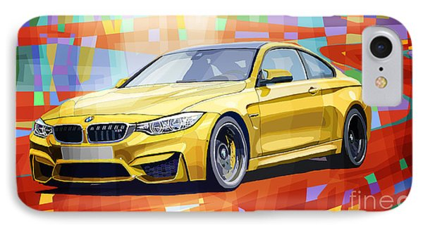 Bmw M4 Orange IPhone Case by Yuriy Shevchuk