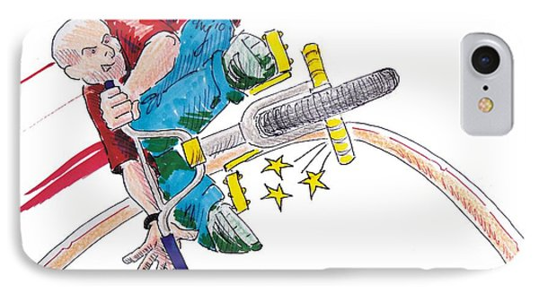 Bmx Drawing Peg Grind Phone Case by Mike Jory