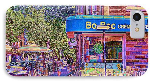 Bo Bec Creme Glacee Ice Cream Shop Laurier Montreal Springtime Cafe Scene By Carole Spandau Phone Case by Carole Spandau