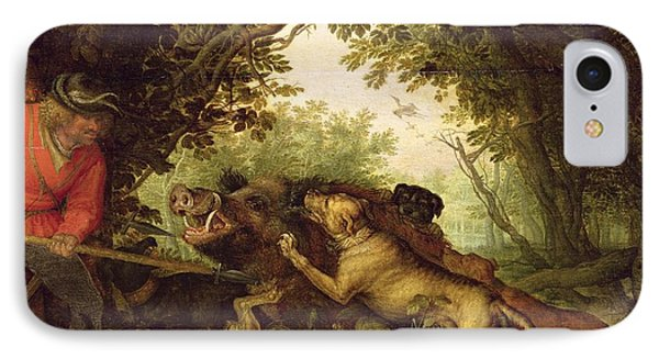 Boar Hunt, 1611 IPhone Case by Roelandt Jacobsz. Savery