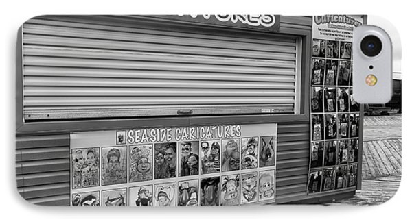 Boardwalk Caricatures Mono IPhone Case by John Rizzuto