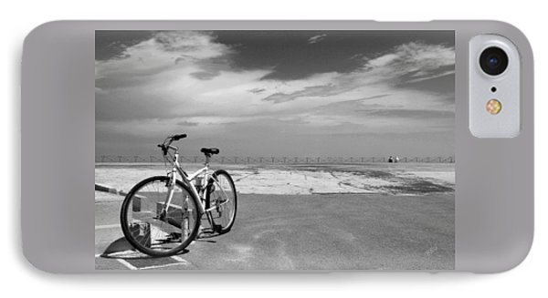 Boardwalk View With Bike In Antibes France Black And White Phone Case by Ben and Raisa Gertsberg